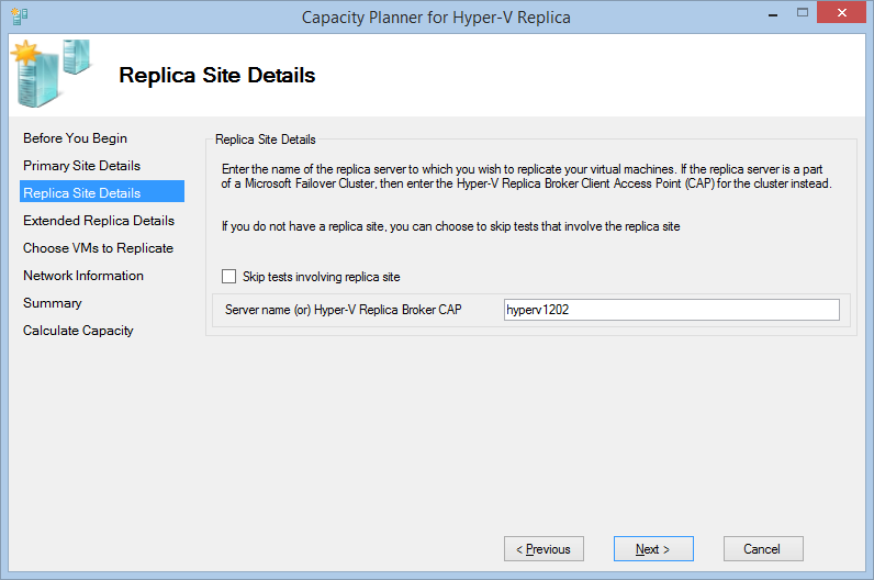 Capacity planner for hyper v replica hyperv winserv for Window is not defined