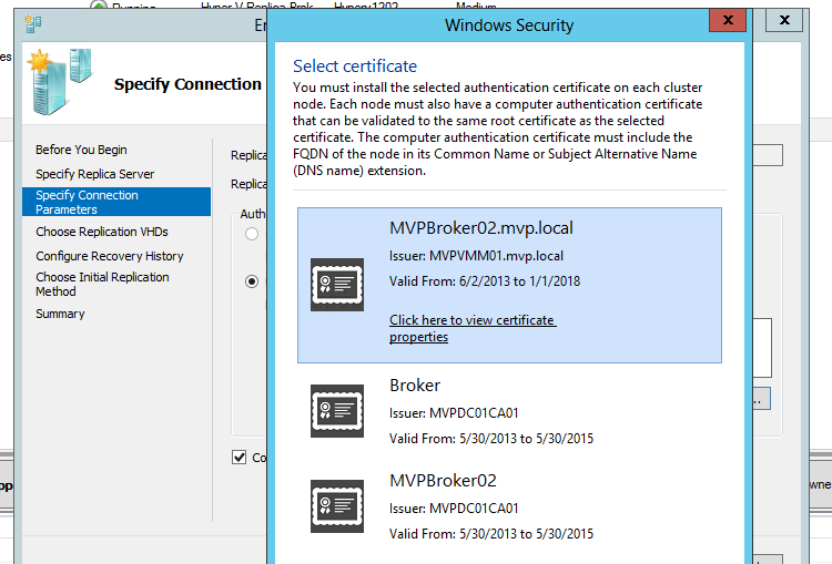 Hyper V Replica Certificate Based With Your Own Root Authority