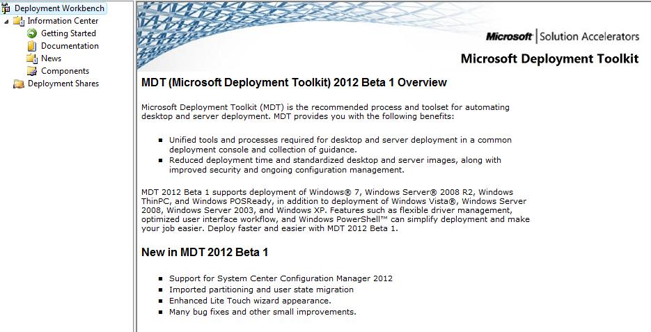 Microsoft Deployment Toolkit 2012 (MDT) | Software Defined