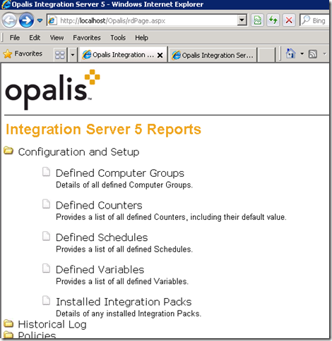 Opalis reporting on IIS7.5