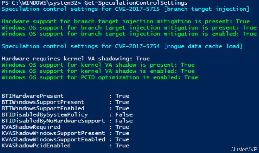 Check with Powershell for Meltdown and Spectre #exploit critical