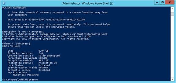 Windows Server 2012 Added Bitlocker to CSV How to configure