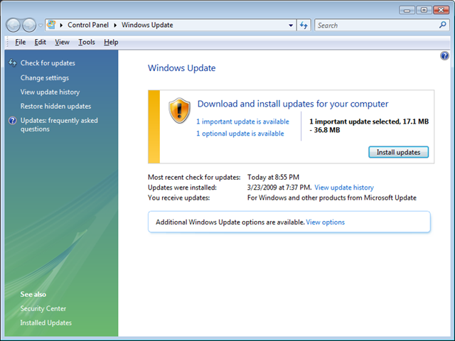 Windows Update Standalone Beta client Windows Vista and Windows 7
